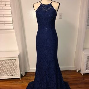 Navy Blue Lace Long Dress
